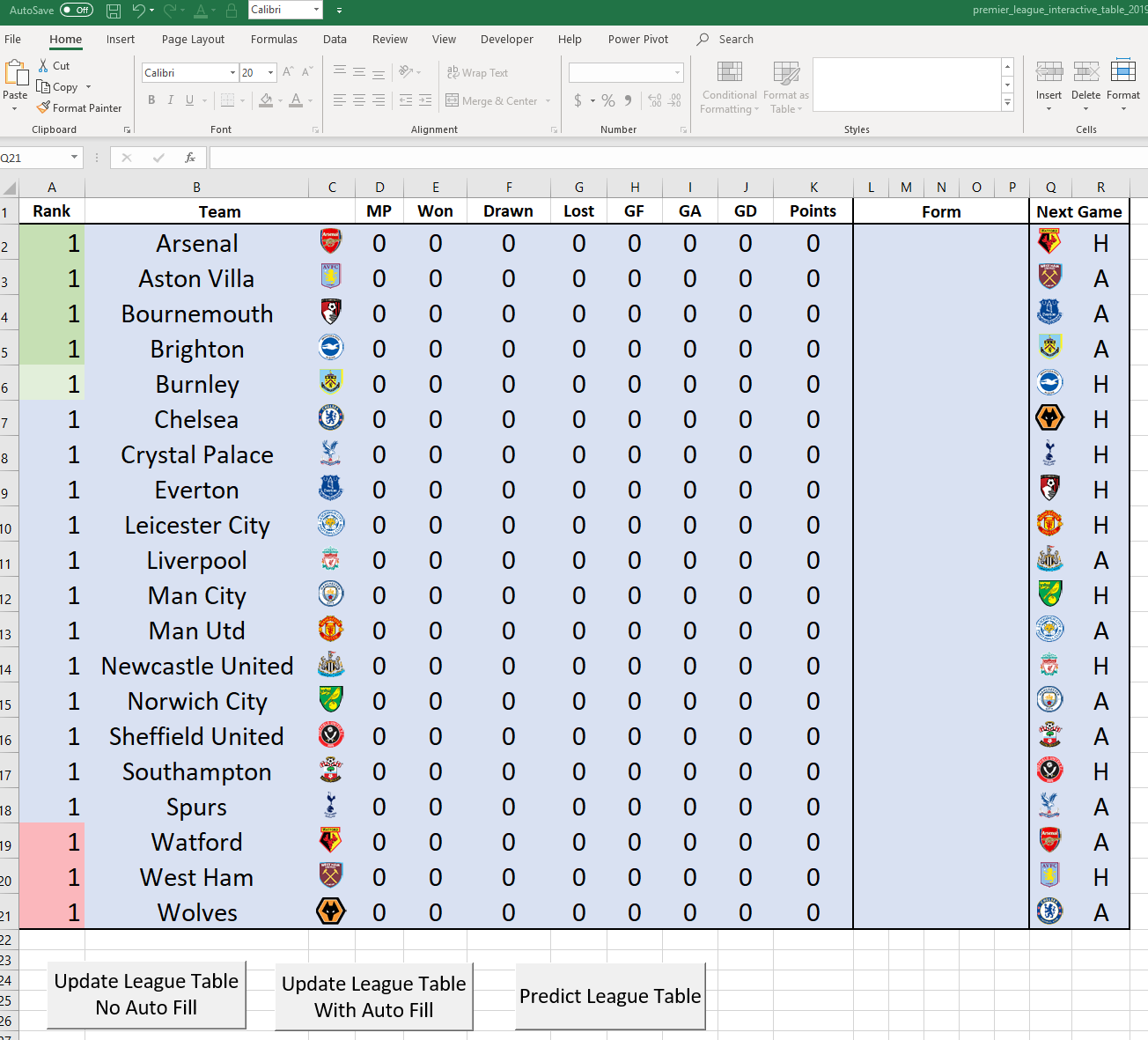 Interactive Premier League Table in Excel Download - The