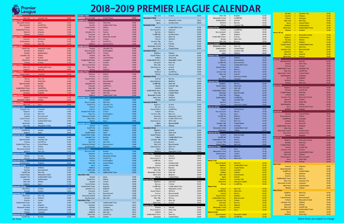2018/19 Premier League Fixture Wall Post and Calendar